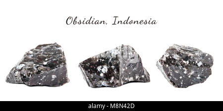 Macro shooting of natural gemstone. The raw mineral is obsidian, Indonesia. Isolated object on a white background. - Stock Photo