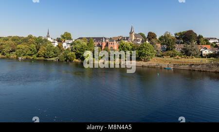 Essen, North Rhine-Westphalia, Germany - September 27, 2016: The shore of the river Ruhr with the suburb of Kettwig - Stock Photo