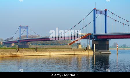 Duisburg, North Rhine-Westphalia, Germany - April 09, 2017: Friedrich-Ebert-Bridge and the river Rhine - Stock Photo