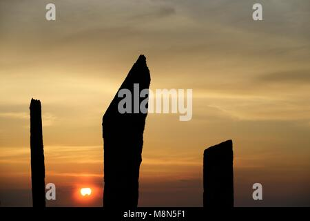 Standing Stones of Stenness, Orkney. 5m high prehistoric megaliths stone circle henge monument. originally of up - Stock Photo