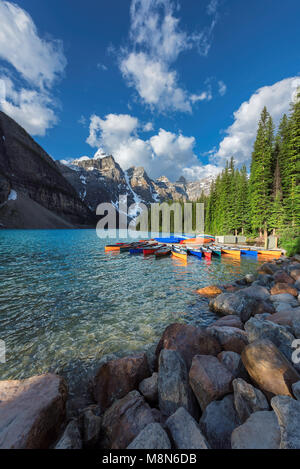 Canoes on Moraine lake in Rocky Mountains, Banff National Park, Canada.