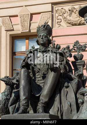 St. Petersburg, Russia, 16 March 2018, Russian Emperor Paul I monument - Stock Photo