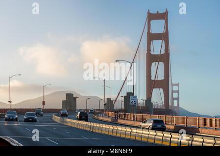 Golden Gate Bridge at sunset in San Francisco, California. - Stock Photo