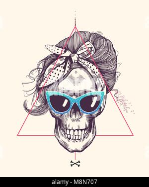 Women's skull in woodcut style with fashionable hairstyle wearing cool scarf and glasses against hipster abstract - Stock Photo