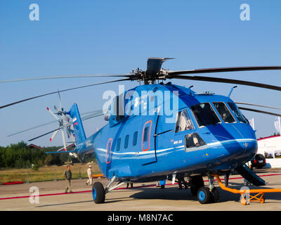 Mi 38 helicopter, Russian  military and civil  transport E1h class aircraft at International Aviation & Space Salon - Stock Photo