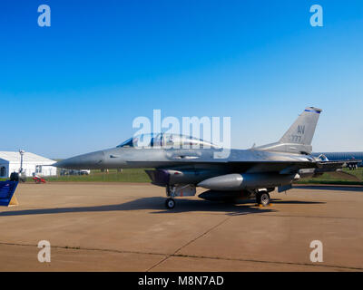 F-16 Fighting Falcon fighter aircraft ready to fly, International Aviation & Space Salon in Moscow MAKS. ZHUKOWSKY - Stock Photo