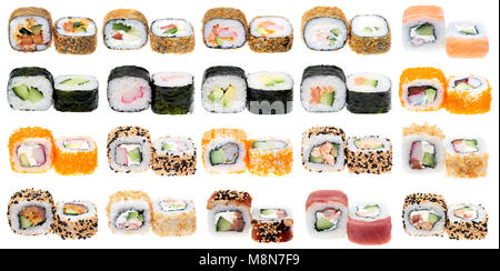 Different kinds of sushi roll isolated on white background. Japanese cuisiune - Stock Photo