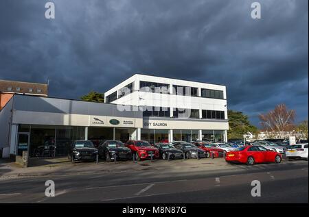 The Guy Salmon Jaguar and Range Rover Car Showroom in Ascot Berkshire UK - Stock Photo