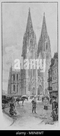 Cologne Cathedral in 1900, Picture from the French weekly newspaper l'Illustration, 17th November 1900 - Stock Photo