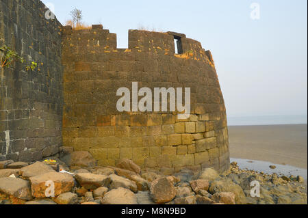 Bastion of fort Kolaba near Alibaug beach, Maharashtra, India - Stock Photo