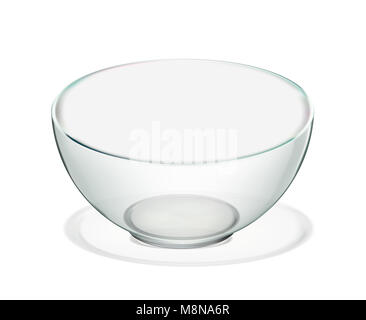 Transparent glass bowl isolated. Realistic iilustration - Stock Photo