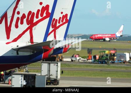 Virgin planes, Sydney Airport, New South Wales, Australia - Stock Photo
