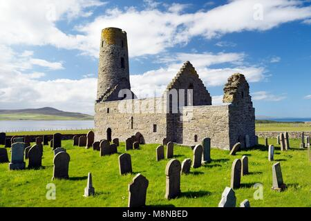 Saint St. Magnus Church, Egilsay, Orkney Islands, Scotland. 12th C Viking Norse round bell-tower tower Christian - Stock Photo