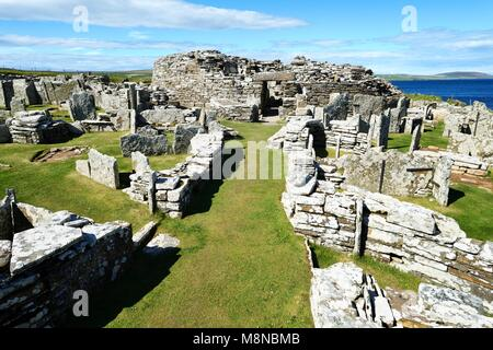 Broch of Gurness Iron Age broch and village archaeological site. West up main approach to broch entrance. Eynhallow - Stock Photo