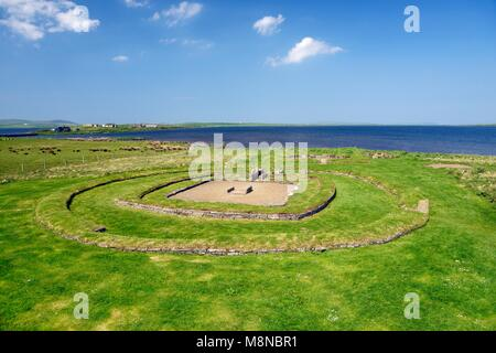 Barnhouse prehistoric settlement site at Stenness, Orkney, Scotland. Recently excavated 5000 year old ceremonial - Stock Photo