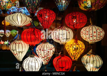 Colorful lanterns at night in market in Hoi an Vietnam - Stock Photo