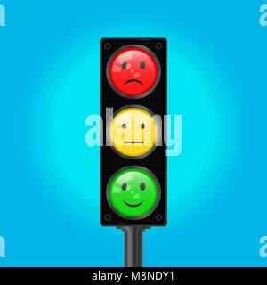Traffic Lights with Emoticons, Vector Illustration - Stock Photo