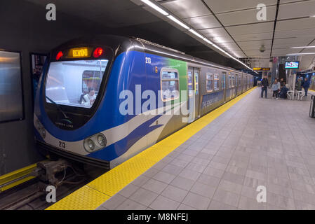 Waterfront Station on Vancouver, British Columbia's Translink train system. - Stock Photo