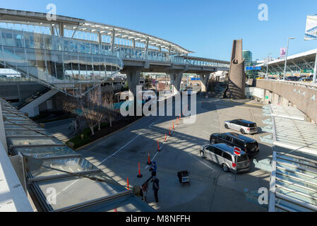 Skytrain station outside Vancouver International Airport, British Columbia. - Stock Photo