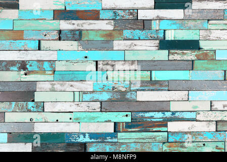 Background of colorful old painted grunge wood planks - Stock Photo