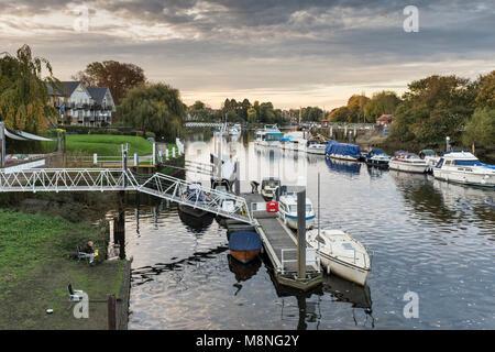 Boats moored along River Thames, Teddington, London Borough of Richmond upon Thames, UK - Stock Photo