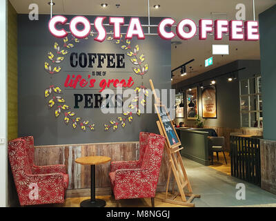 Krakow, Poland - February 21, 2018: Exterior view of the Costa Coffee shop. Costa Coffee is a British multinational - Stock Photo