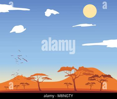 a vector illustration in eps 10 format of a hot african landscape with acacia trees and mountains with fluffy white - Stock Photo