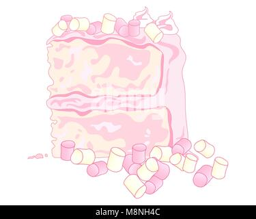 a vector illustration in eps 10 format of a sponge cake with pink butter cream and marshmallow decoration on a white - Stock Photo