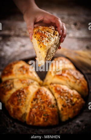 Close up of triangle  bread buns with various seeds - Stock Photo