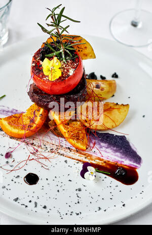 Grilled beef steak with vegetables - Stock Photo