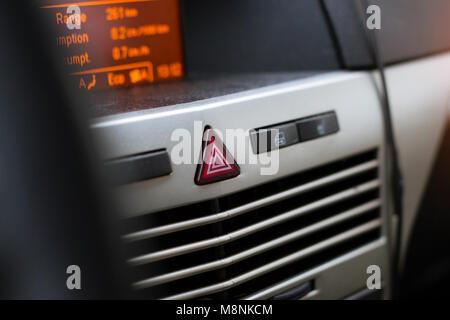 On-Board car computer to help the driver. Modern transport technologies in mechanical engineering. Close-up details - Stock Photo