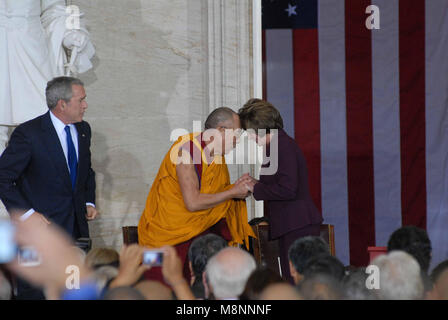 Washington DC., USA, October 17, 2007  His Holiness The  14th Dalia Lama Lhamo Dondrub of Tibet greets Speaker of - Stock Photo