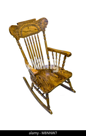 Wooden carved chair rocking brown on a white background, isolated - Stock Photo