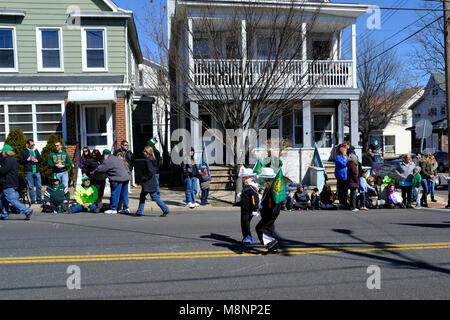 Kids marching in St. Patrick's Day Parade in South Amboy, New Jersey - Stock Photo