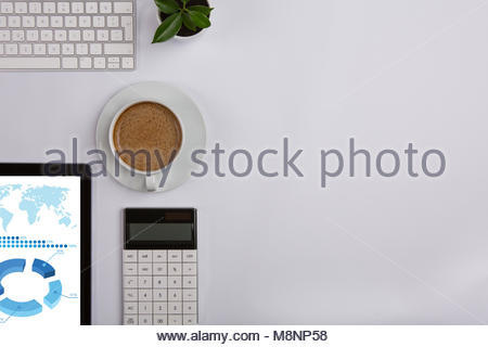 Modern Working Place on White Office Desk - Stock Photo