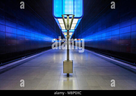 Hamburg subway station HafenCity University - Stock Photo