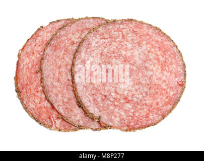 Italian Salami saugage on white background - Stock Photo