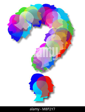 People questions as an abstract population shaped as a question mark as a symbol for society and diversity choices - Stock Photo