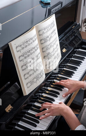 Woman plays  piano -top view - Stock Photo