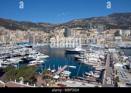 Motor yachts at Marina of Monaco, Principality of Monaco, Côte d'Azur, french riviera, Europe - Stock Photo