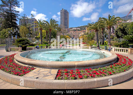 View from the park at Place du Casino on Boulevard des Moulin, Monte Carlo, Principality of Monaco, Côte d'Azur, - Stock Photo