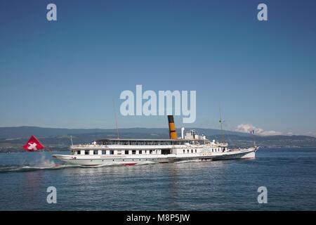 The Simplon paddle steamer on Lake Geneva or Lac Leman in Switzerland - Stock Photo