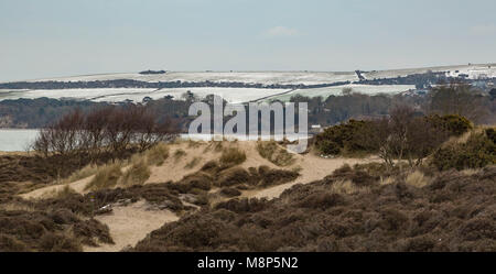 Snow on the Purbecks in Dorset 19th March 2018 - Stock Photo