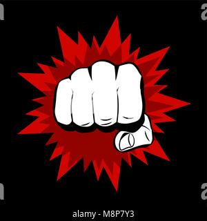 Realistic hand with clenched fist and red splashes on a black background. Flat design - Stock Photo