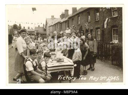 Original WW2 era postcard Victory tea street party, May 9th 1945,to celebrate the ending of 2nd World War, Stanstead - Stock Photo