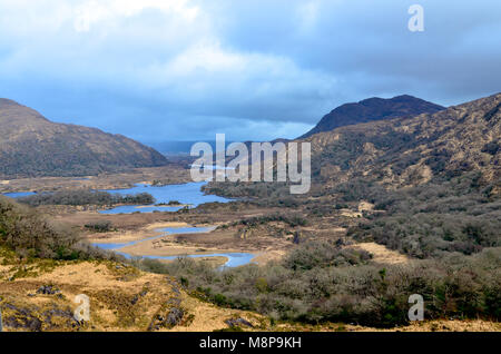 Countryside Ring of Kerry Ireland road trip scenic views good weather famous - Stock Photo