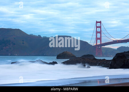 Golden Gate Bridge from Baker Beach, San Francisco, California, USA - Stock Photo
