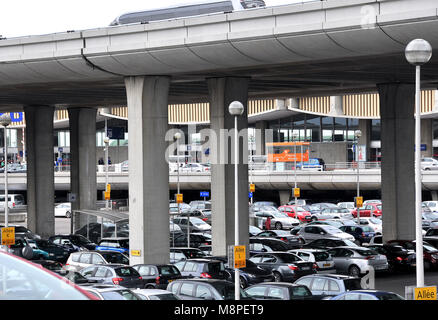 cars parking Roissy Charles de Gaulle airport Paris France - Stock Photo