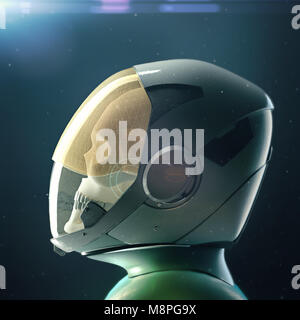 Dead skull astronaut in spacesuit and helmet. On dark background with stars and flares 3d rendered - Stock Photo