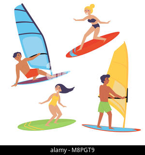 Summer water beach sports, activities. Board with a sail. Men and women standing on the board learning to windsurf, - Stock Photo